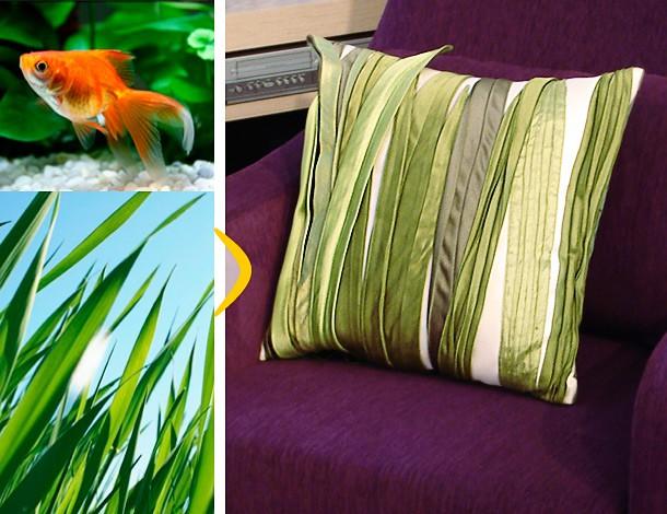 Авторская подушка, расшитая тканью в виде сочной молодой травы.